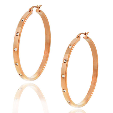 Stainless Steel Rose Gold-Tone White CZ Round Hoop Earrings
