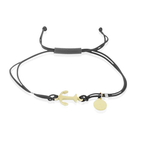 Stainless Steel Yellow Gold-Tone Black Cord Anchor Charm Adjustable Bracelet