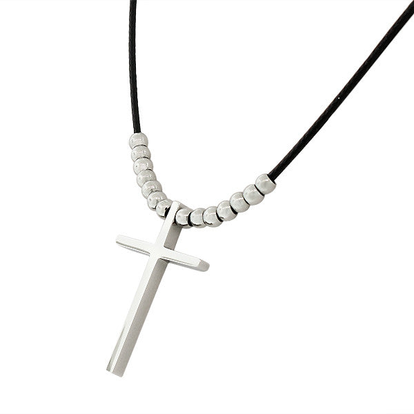 Stainless Steel Fashion Cross Beaded Rubber Necklace Pendant
