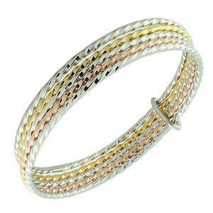 Stainless Steel Multi-Tone Stackable Bangle Bracelets - Set of 5