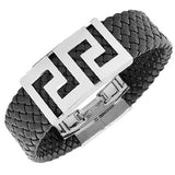 Stainless Steel Black Faux PU Leather Greek Key Silver-Tone Wide Men's Bracelet
