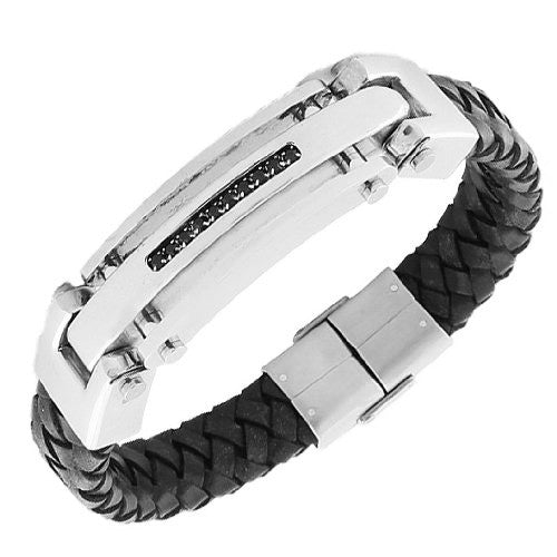 Stainless Steel Black Leather Black CZ Silver-Tone Men's Bracelet