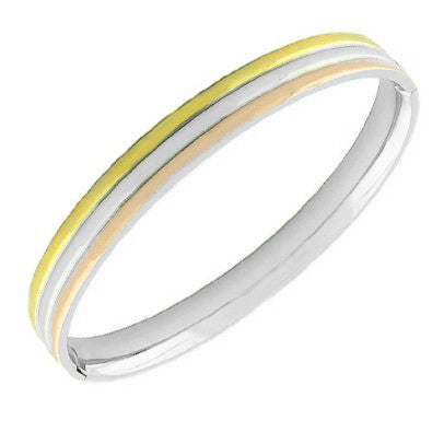 Stainless Steel Multi-Tone Oval-Shaped Bangle Bracelet