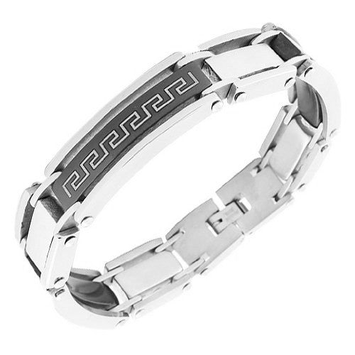 Stainless Steel Black Silver-Tone Greek Key Link Chain Men's Bracelet