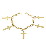 EDFORCE Stainless Steel Yellow Gold-Tone Latin Cross Religious Link Chain Bracelet