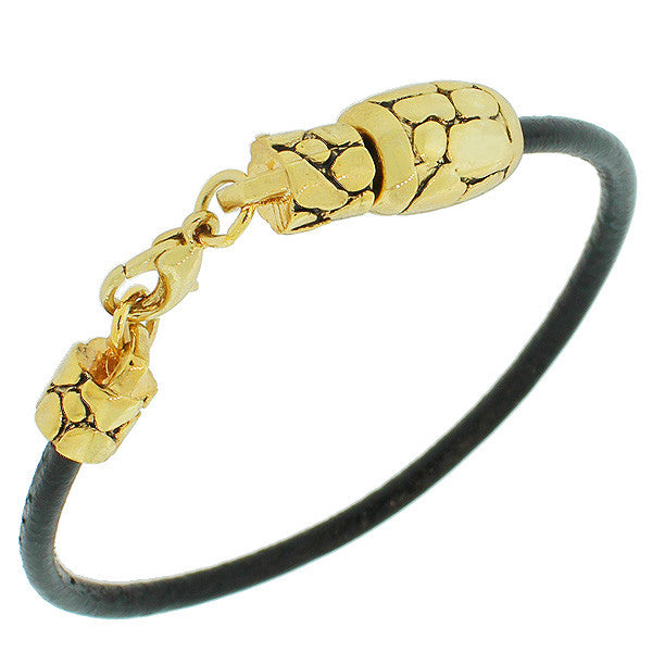 Fashion Alloy Black Faux PU Leather Yellow Gold-Tone Snake Skin Design Wristband Bracelet