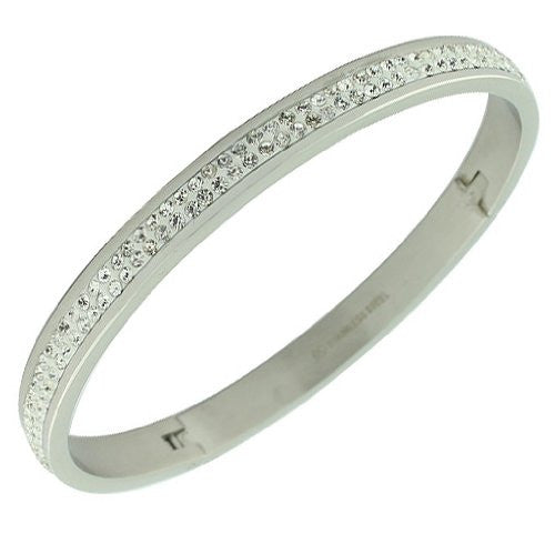 Stainless Steel Silver-Tone White CZ Bangle Bracelet