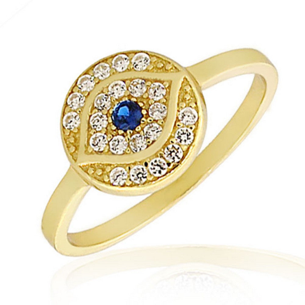 925 Sterling Silver Yellow Gold-Tone White Blue CZ Evil Eye Protection Ring Band - Size 9