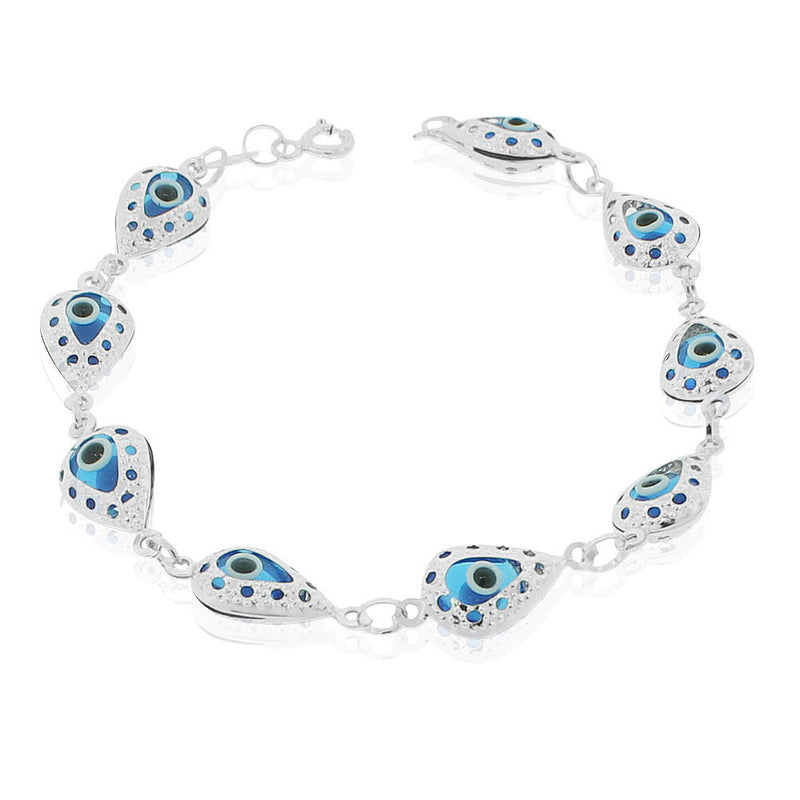 925 Sterling Silver Blue Evil Eye Link Protection Chain Bracelet