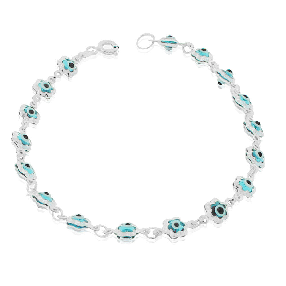 925 Sterling Silver Blue Evil Eye Flower Protection Link Chain Bracelet