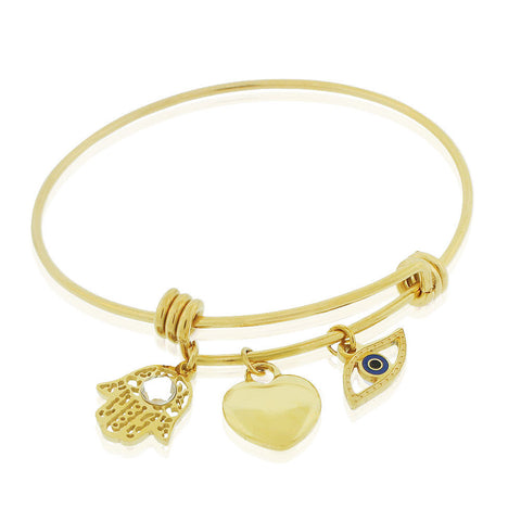 EDFORCE Stainless Steel Yellow Gold-Tone Hamsa Evil Eye Protection Bangle Bracelet, 8""