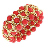 Fashion Alloy Red Beads Yellow Gold-Tone Chain Beaded Stretch Bracelet