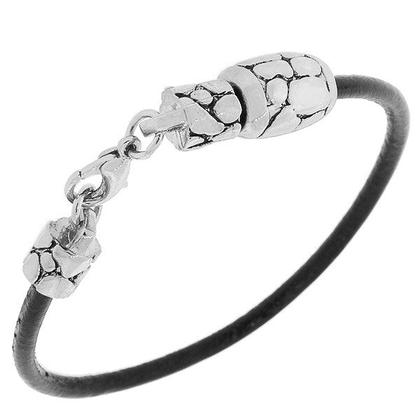 Fashion Alloy Black Faux PU Leather Silver-Tone Snake Skin Design Wristband Bracelet