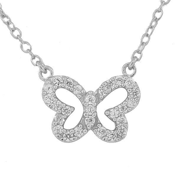 925 Sterling Silver Small Butterfly White CZ Pendant Necklace