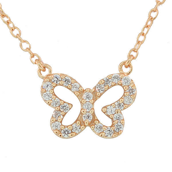 925 Sterling Silver Rose Gold-Tone Small Butterfly White CZ Pendant Necklace