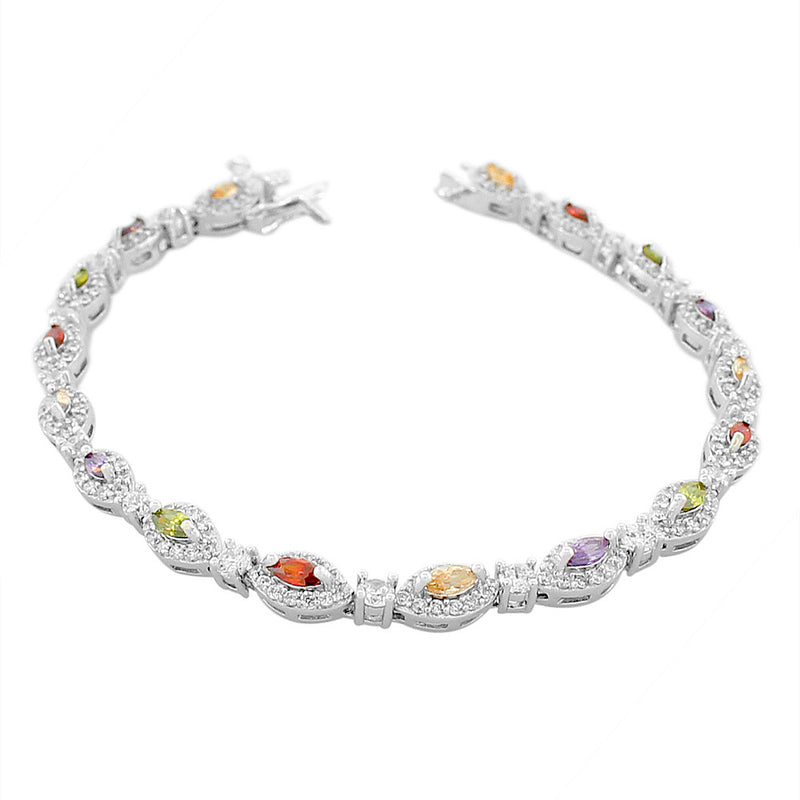 925 Sterling Silver Marquise White Multicolor CZ Classic Tennis Bracelet