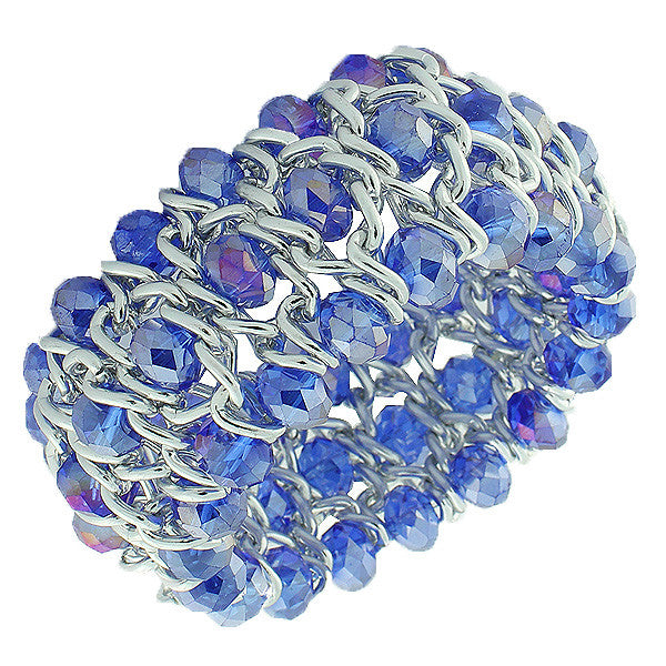 Fashion Alloy Blue Beads Silver-Tone Chain Beaded Stretch Bracelet