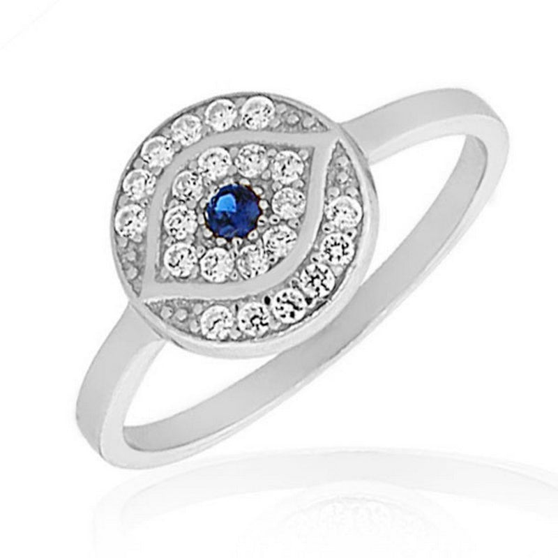 925 Sterling Silver White Blue CZ Evil Eye Protection Ring Band - Size 9