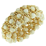 Fashion Alloy White Beads Yellow Gold-Tone Chain Beaded Stretch Bracelet