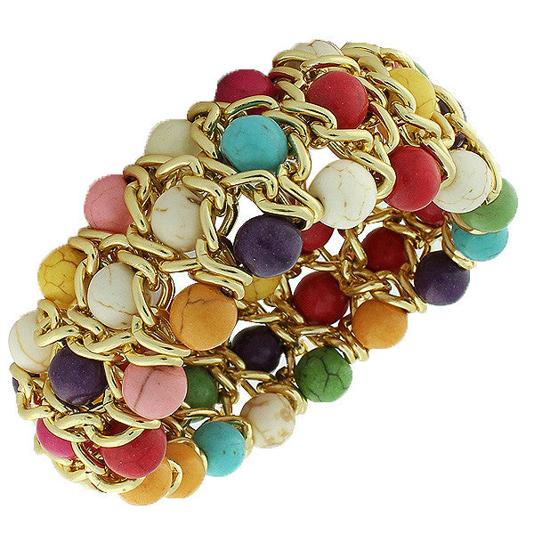 Fashion Alloy Multicolor Beads Silver-Tone Chain Beaded Stretch Bracelet
