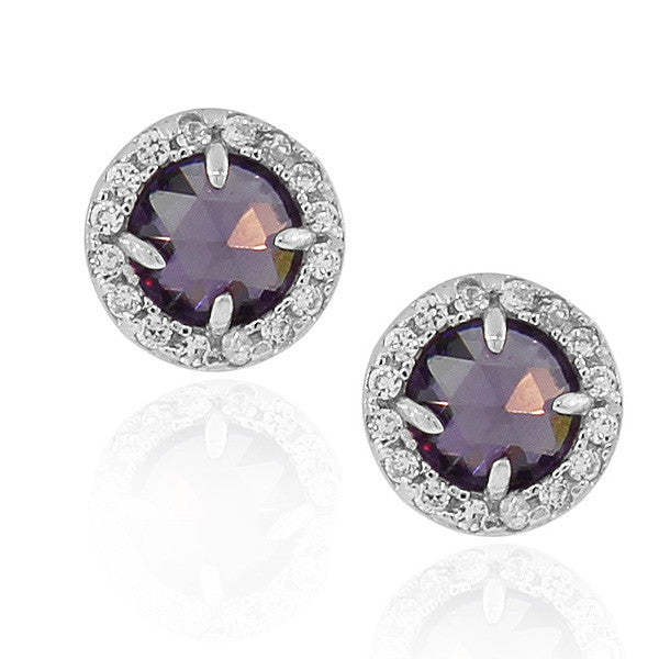 925 Sterling Silver Purple Violet White Round CZ Stud Earrings