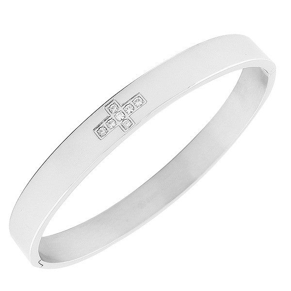 Stainless Steel Silver-Tone White CZ Cross Bangle Bracelet