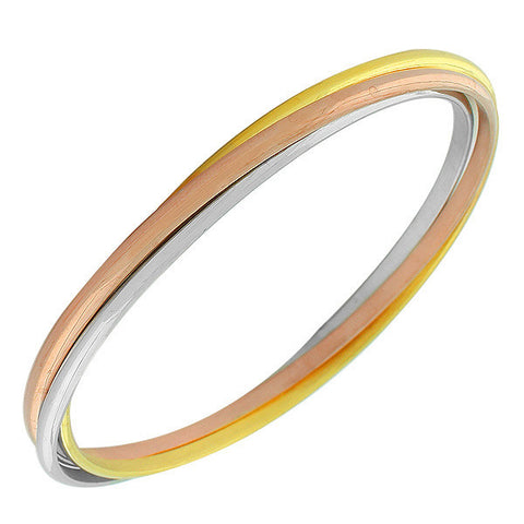 Stainless Steel Multi-Tone Interlocking Bangle Bracelets