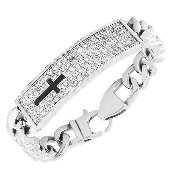 Stainless Steel Silver-Tone Link Chain Religious Black Cross White CZ Men's Bracelet