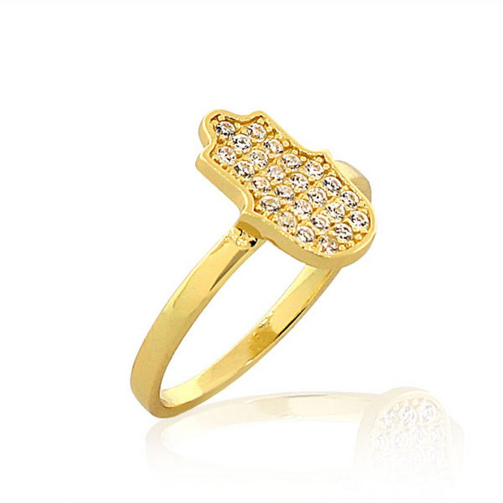 925 Sterling Silver Yellow Gold-Tone White CZ Hamsa Hand Good Luck Ring Band - Size 9