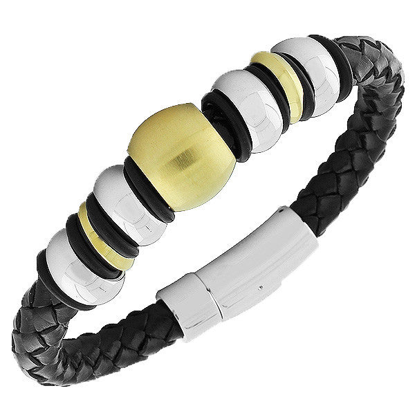 Stainless Steel Black Leather Two-Tone Men's Bracelet