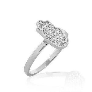 925 Sterling Silver White CZ Hamsa Hand Good Luck Ring Band - Size 9