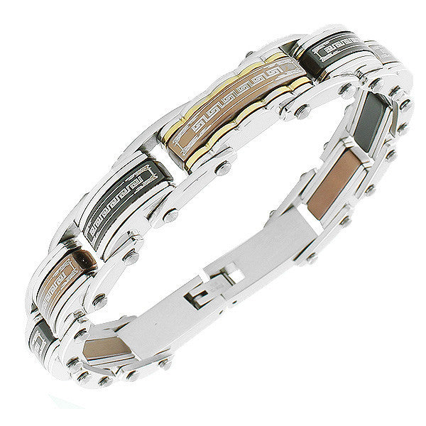 Stainless Steel Multi-Tone Link Chain Greek Key Men's Bracelet