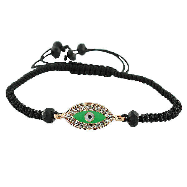 Fashion Alloy Green White CZ Silver-Tone Evil Eye Macrame Adjustable Bracelet