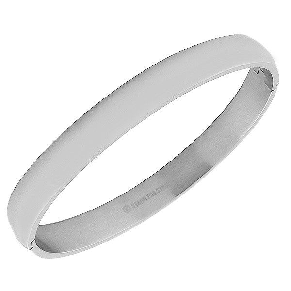 Stainless Steel Silver-Tone Highly Polished Bangle Bracelet