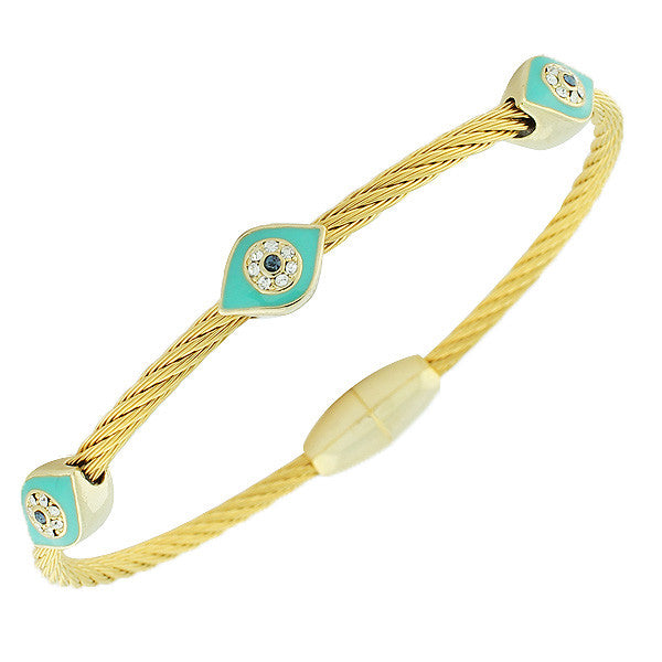 Fashion Alloy Yellow Gold-Tone Blue CZ Evil Eye Bracelet