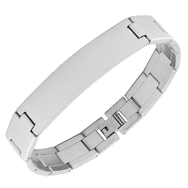 Stainless Steel Silver-Tone Link Chain Name Tag Men's Bracelet