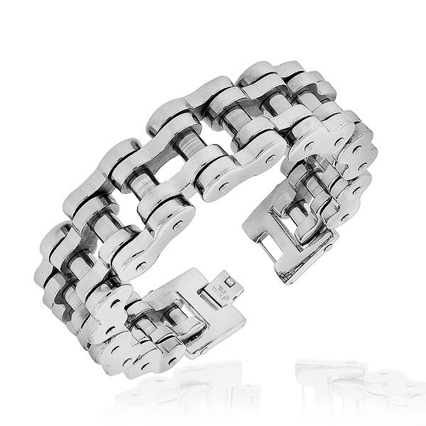 Stainless Steel Silver-Tone Link Bike Chain Large Heavy Men's Bracelet