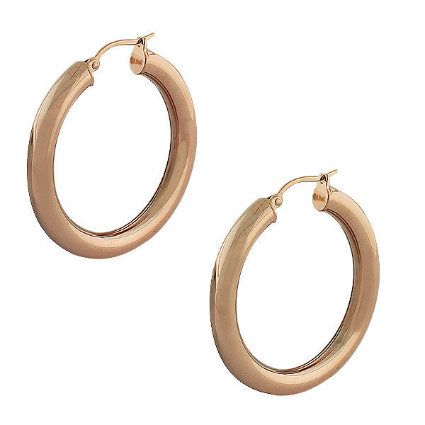Stainless Steel Rose Gold-Tone Classic Hoop Earrings