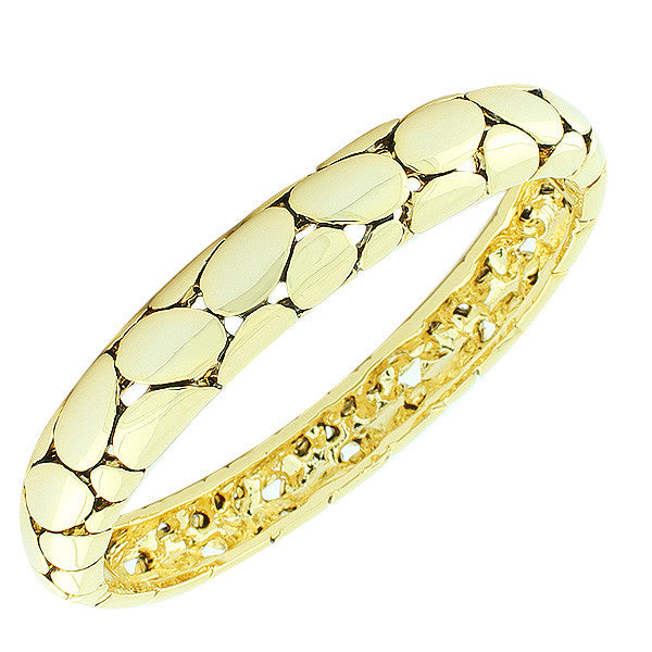 Fashion Alloy Yellow Gold-Tone Snake Skin Design Oval-Shaped Bangle Bracelet