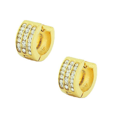 Stainless Steel Yellow Gold-Tone White CZ Hoop Huggie Earrings