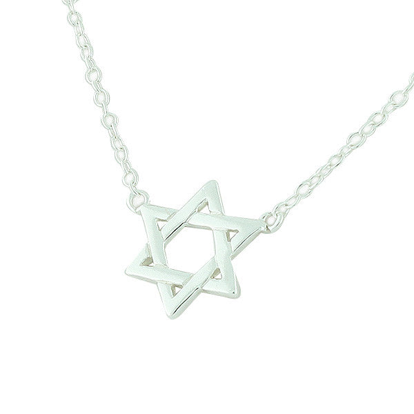 Classic Star Of David Small Sterling Silver Pendant Necklace