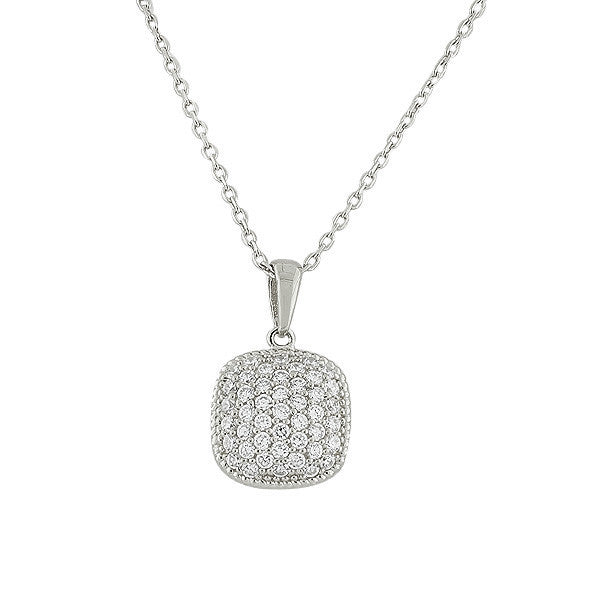 925 Sterling Silver Square White CZ Pendant Necklace