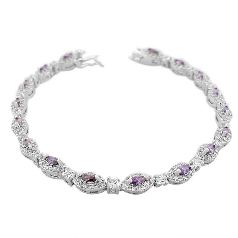 925 Sterling Silver Marquise White Purple Violet Amethyst-Tone CZ Classic Tennis Bracelet