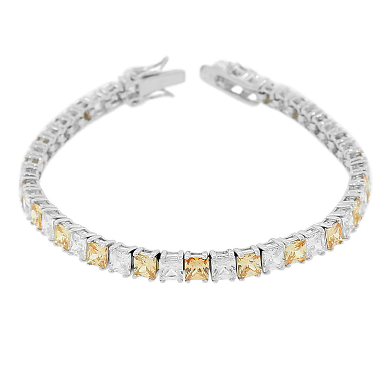 925 Sterling Silver Princess White Cognac Chocolate Brown CZ Classic Tennis Bracelet