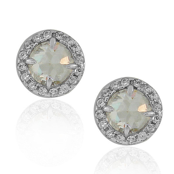 925 Sterling Silver Clear White Round CZ Stud Earrings