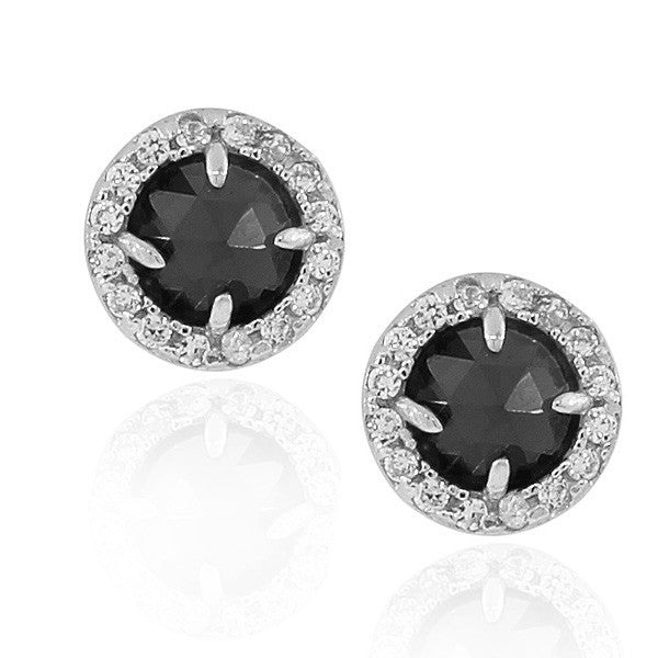 925 Sterling Silver Black White Round CZ Stud Earrings