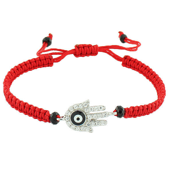 925 Sterling Silver Red Cord Hamsa Evil Eye Beaded Macrame Adjustable Bracelet