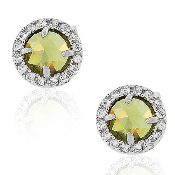 925 Sterling Silver Green White Round CZ Stud Girls Earrings