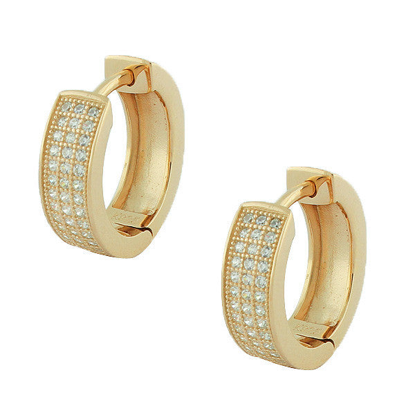 925 Sterling Silver Yellow Gold-Tone White Hoop Huggie Earrings