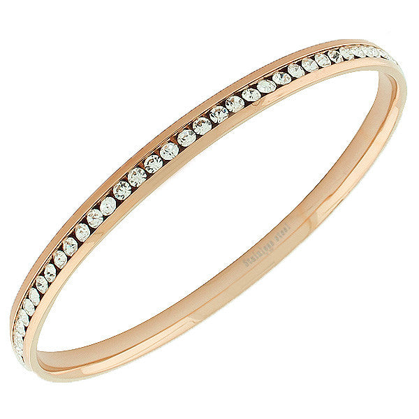 Stainless Steel Rose Gold-Tone White CZ Bangle Bracelet